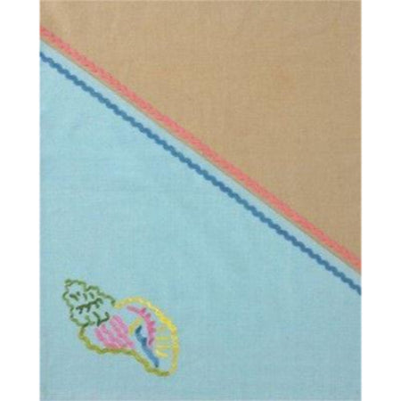 On the Shore Embroidered Conch Shell Design Dishtowel