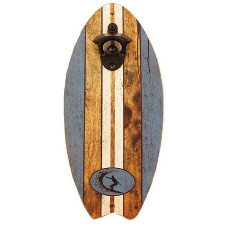 Surfboard shaped bottle opener blue brown and white stripe design with surfer imprint.