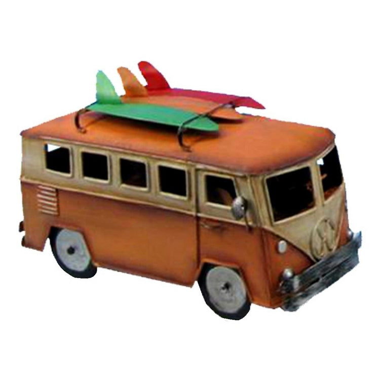Orange & Yellow metal van with a red, a green & an orange surfboard on roof rack,