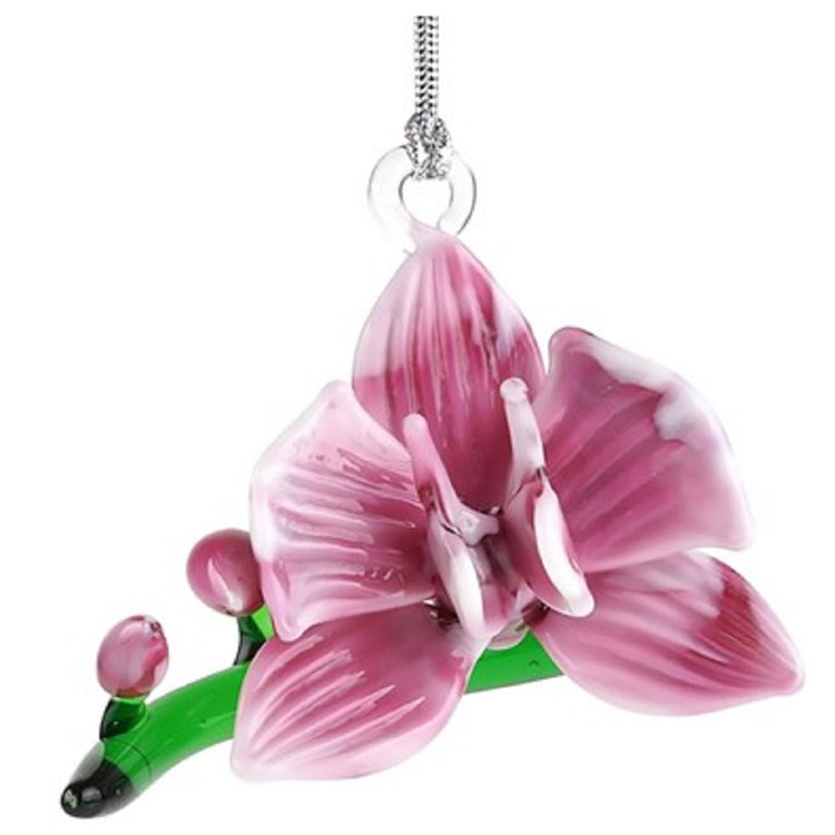 Magenta orchid hanging ornament on silver cord