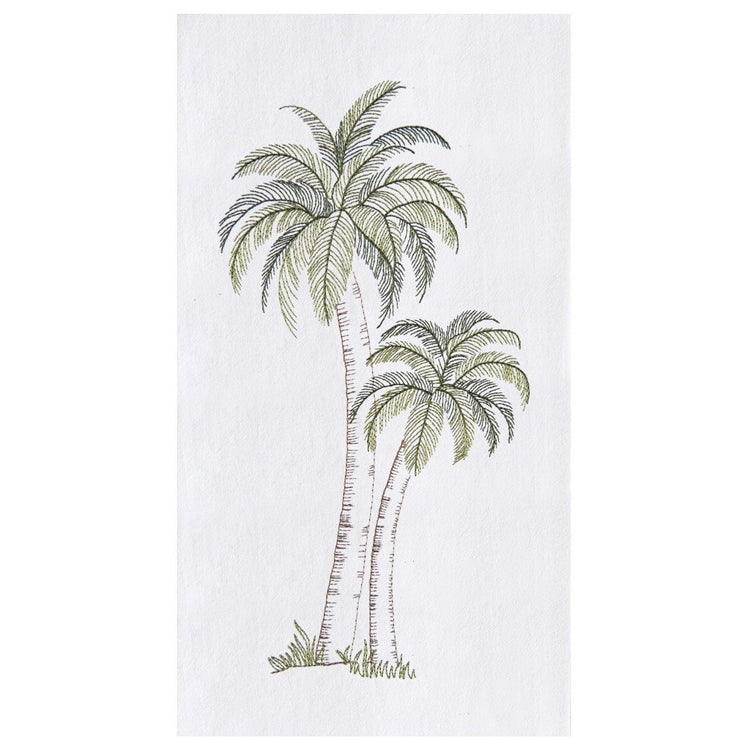 White kitchen towel with 2 green frond palm trees with brown trunks.