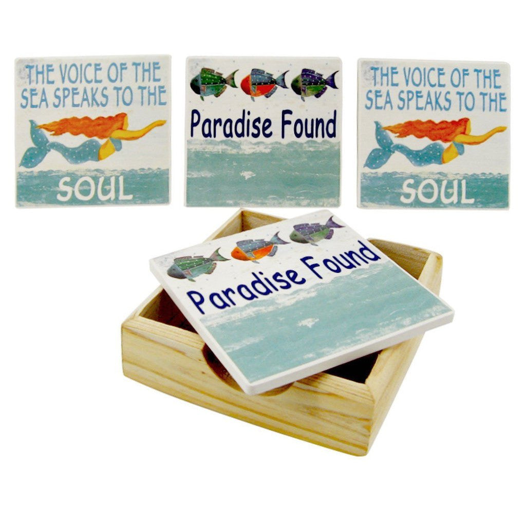 4 Paradise Found Sayings Coasters in Wood Holder