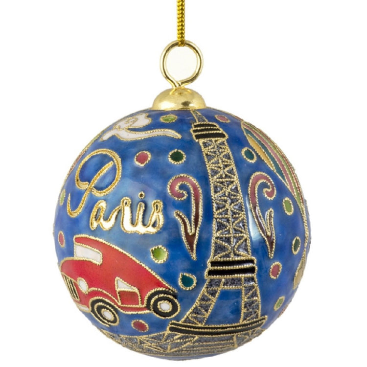 "Round Christmas ball with raised enamel. Text ""Paris"" with taxi and Eiffel Tower accent."