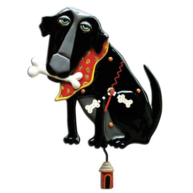 Black dog holding white bone in mouth & red bandanna. The hands are white bones & the pendulum is a red dog house.