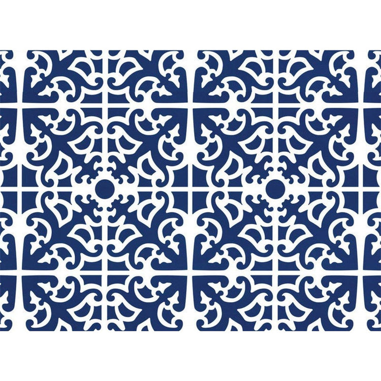 Blue hardboard placemat with white ornate pattern all over.