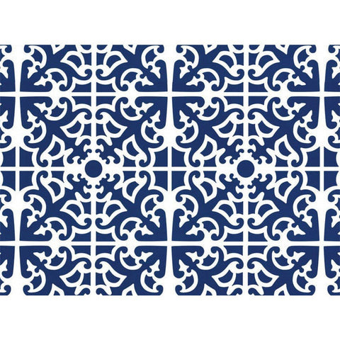 4 Cala Home Premium Hardboard Placemats Table Mats, Parterre Blue