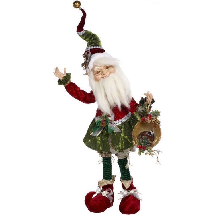 Elf figure in Christmas outfit of red & green, red boots. Holding a gold plate w/ a partridge figure.