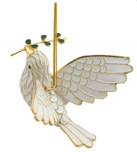 Value Arts Cloisonne Peace Dove Hanging Ornament Enamel on Copper