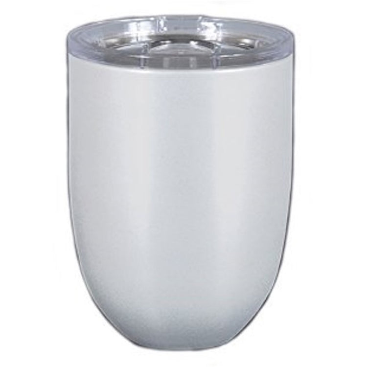 Stemless wine glass with clear top.  Pearl Color