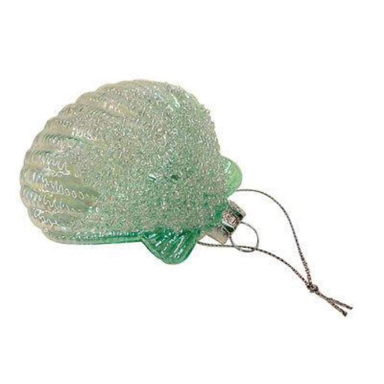 Pectin seashell shaped Christmas ornament with textured beaded finished.