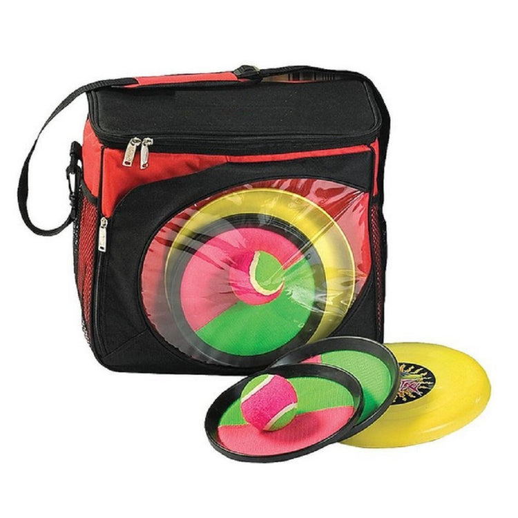 Red cooler with pink, green & yellow outdoor games.