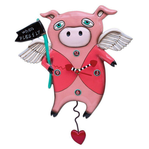 Allen Designs When Pigs Fly Clock With Swinging Pendulum