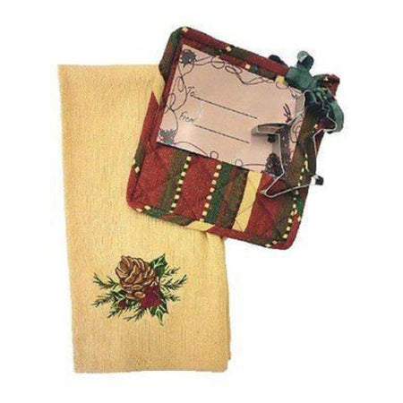 Christmas Dishtowel, Potholder and Reindeer Cookie Cutter Gift Set