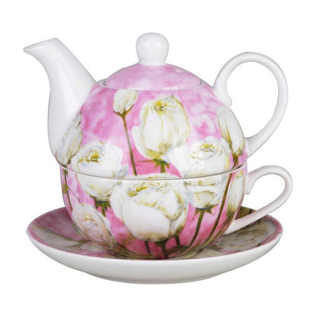 Tea for one on saucer.  Pink with white roses.