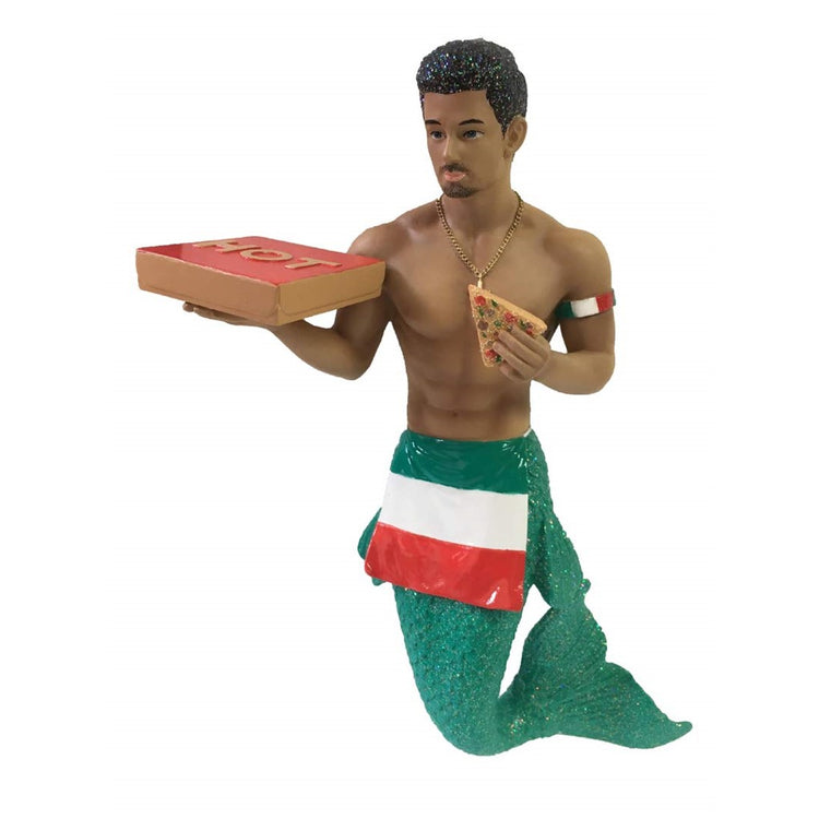 "Merman figurine ornament.  Holding a pizza box ""HOT"" and a slice of pizza."