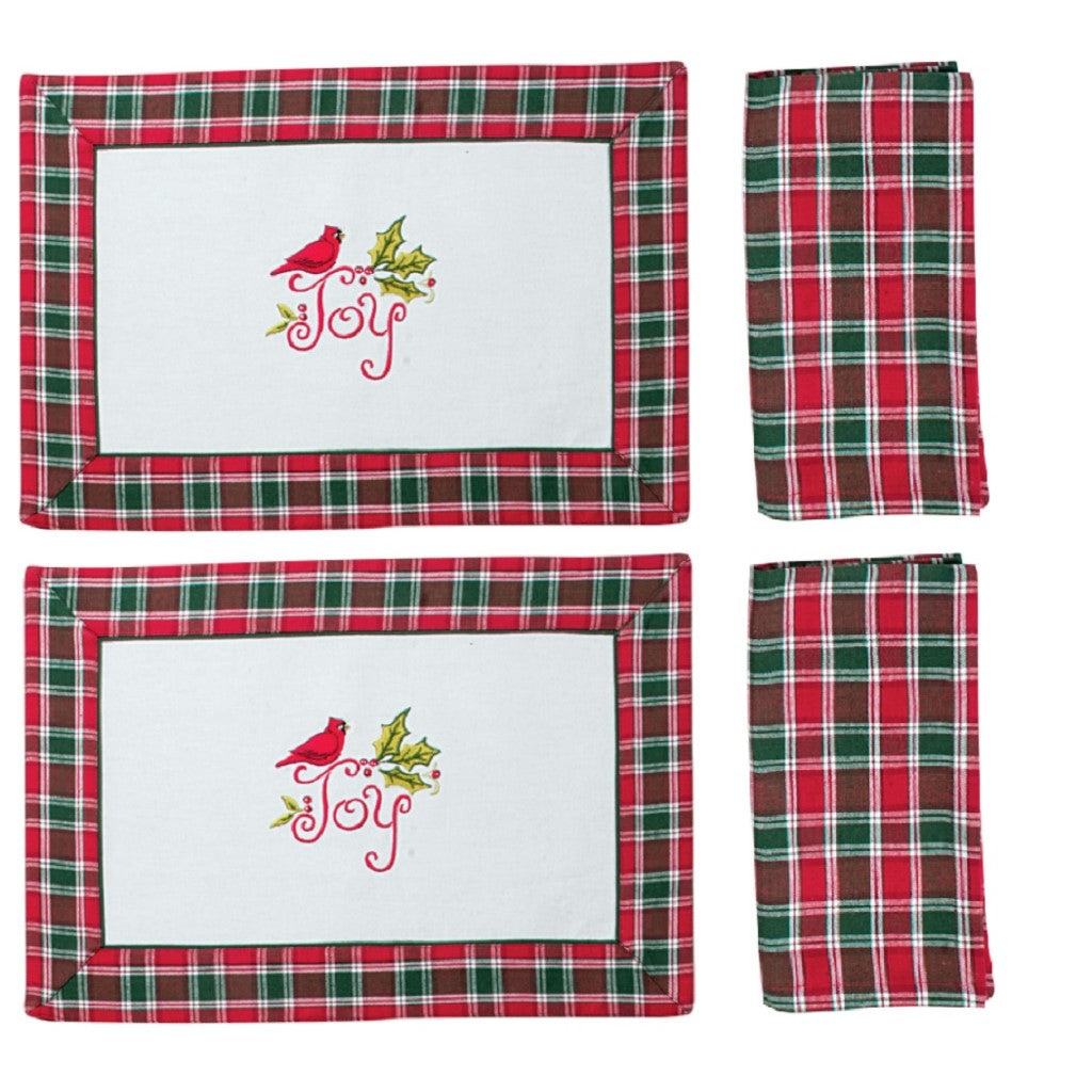 Kay Dee 2 Cardinal Plaid Embroidered Fabric Placemats and 2 Coordinating Napkins
