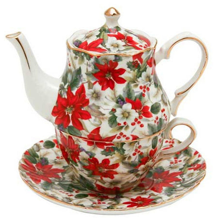 Christmas Tea for One, Poinsettia Design