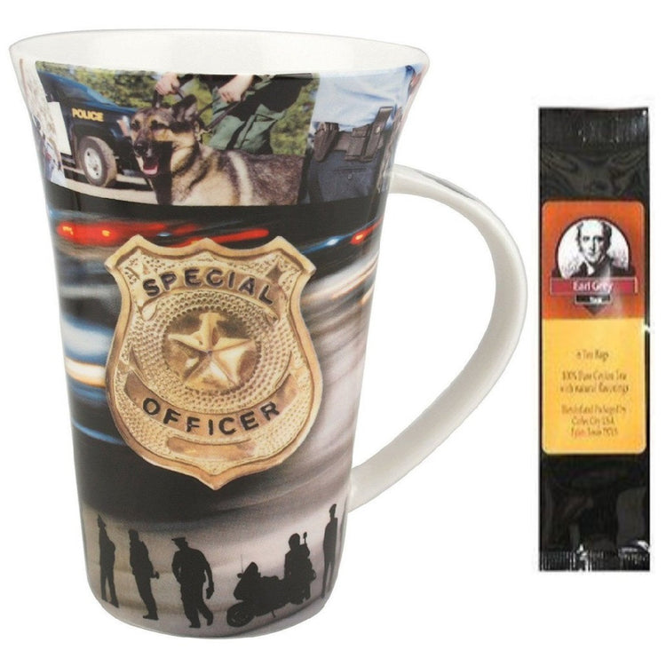 Golden police badge and various police scenes printed on the mug.