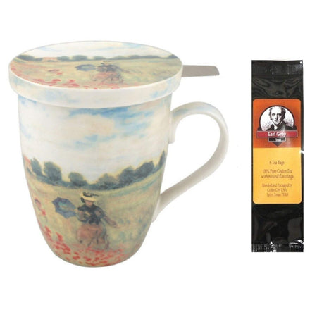 Monet Poppies Tea Mug, Infuser and Lid in Gift Box and 6 Tea Bags