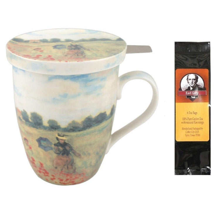 White cup with lid imprinted with Monet's Poppy fields.  Package of Earl Grey tea.