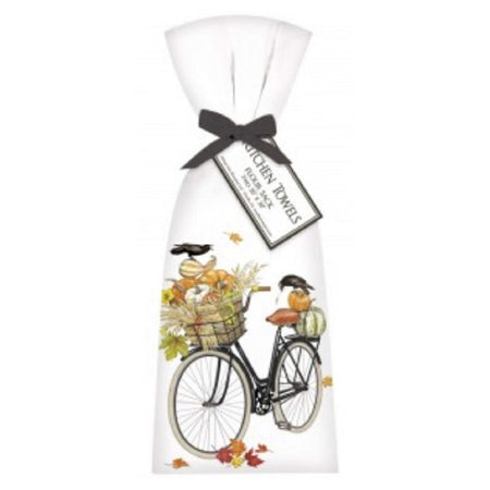 2 Pumpkin Bike Ribbon Tied Flour Sack Towels