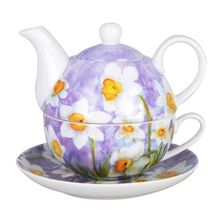 Light purple with white daffodil's on the teapot, cup, & saucer.