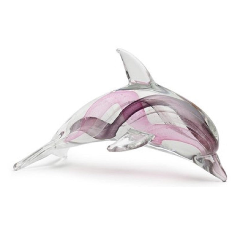 Purple Glass Dolphin with Swirls That Glow in the Dark