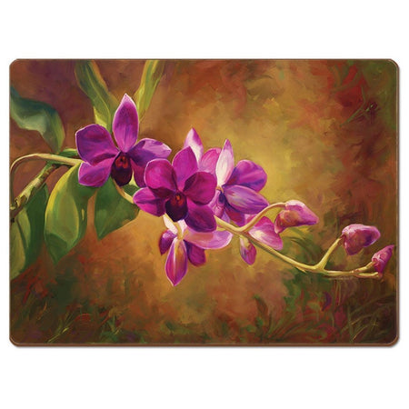 Hardboard placemat showing a bright purple orchid and buds on a branch.