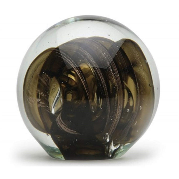 Smoky Quartz Glass Bubble Paperweight