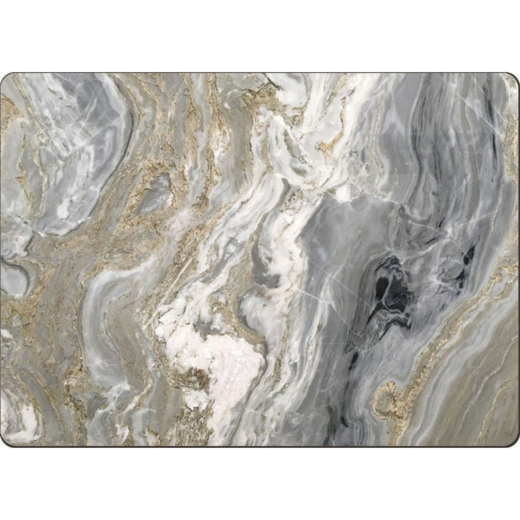 Hardboard placemat with quartz pattern shown in shades of gray, white and gold.
