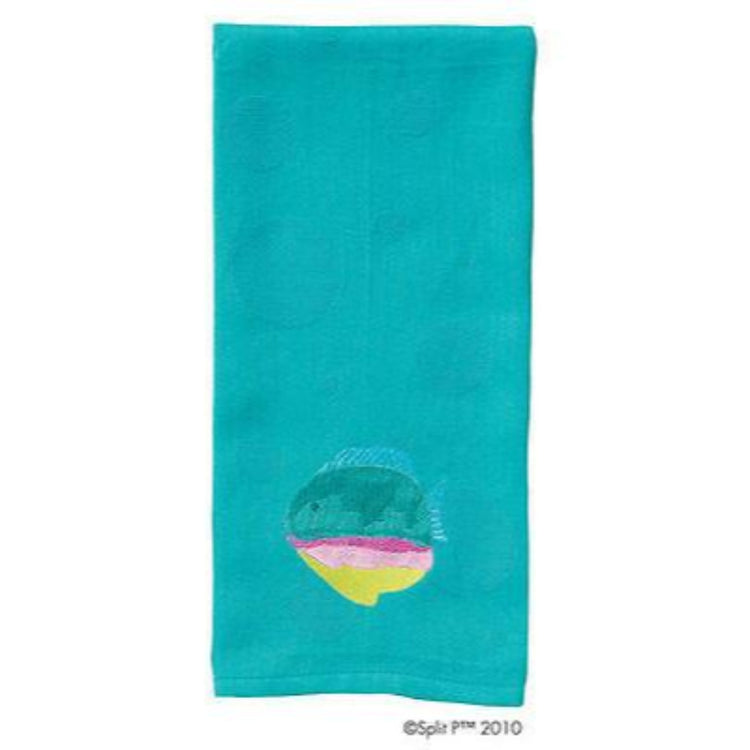 Turquoise towel with a teal, pink, & yellow tropical fish on the bottom.