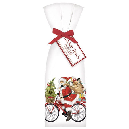 2 Santa Red Bike Ribbon Tied Flour Sack Towels