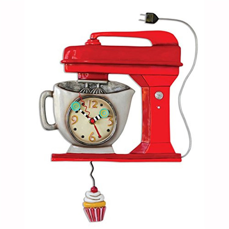 Red mixer shaped wall clock with cupcake pendulum.