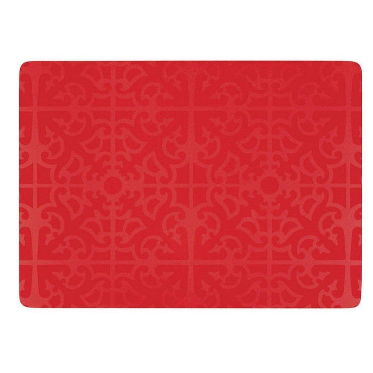 Red hardboard placemats with embossed red ornate pattern all over.