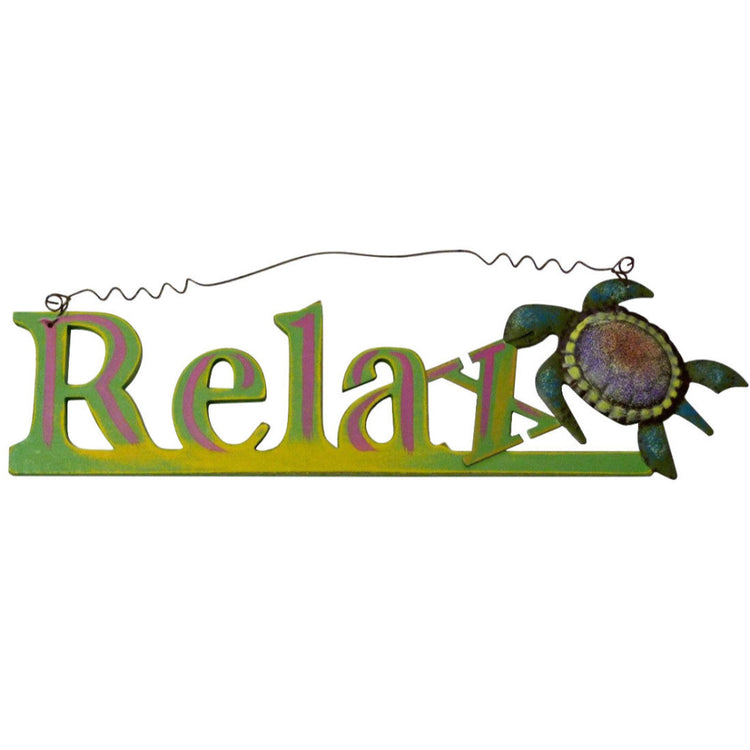 Relax Sign With Wood Cut Out Letters And Metal Sea Turtle