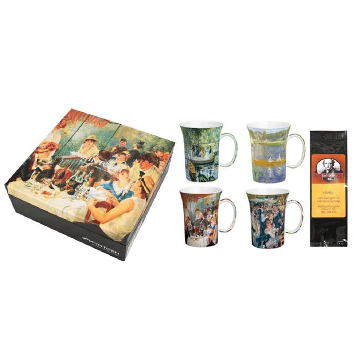 4 mugs, a gift box, & a black package of tea bags. The box & mugs all show different artwork by Renoir.