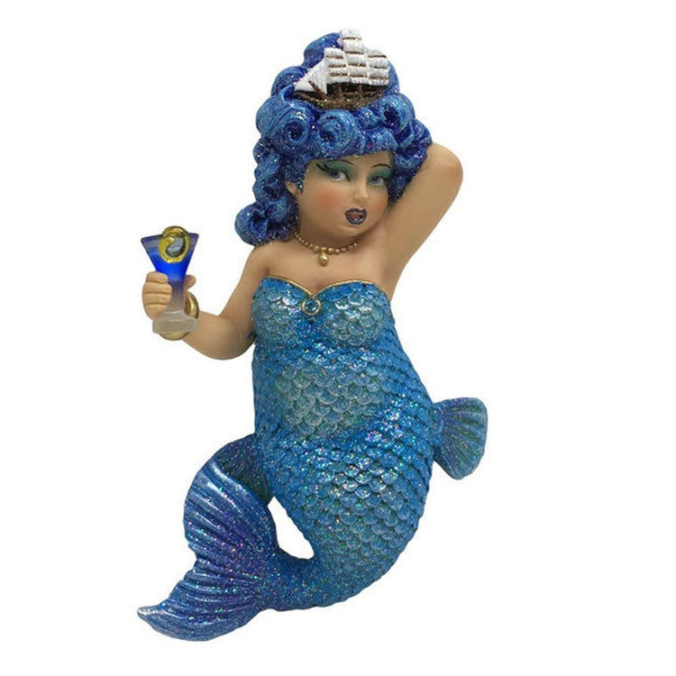 Mermaid figurine ornament.  Dressed in blue holding a cocktail with a pirate ship in her hair.