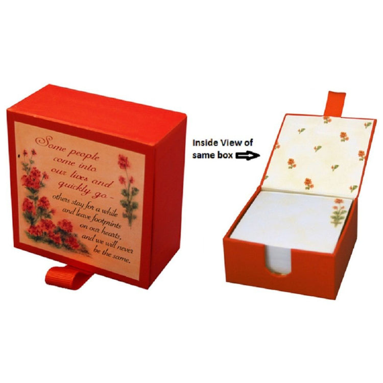 Red flowers Lori Voskuil-Dutter box with a saying on it & white paper inside.
