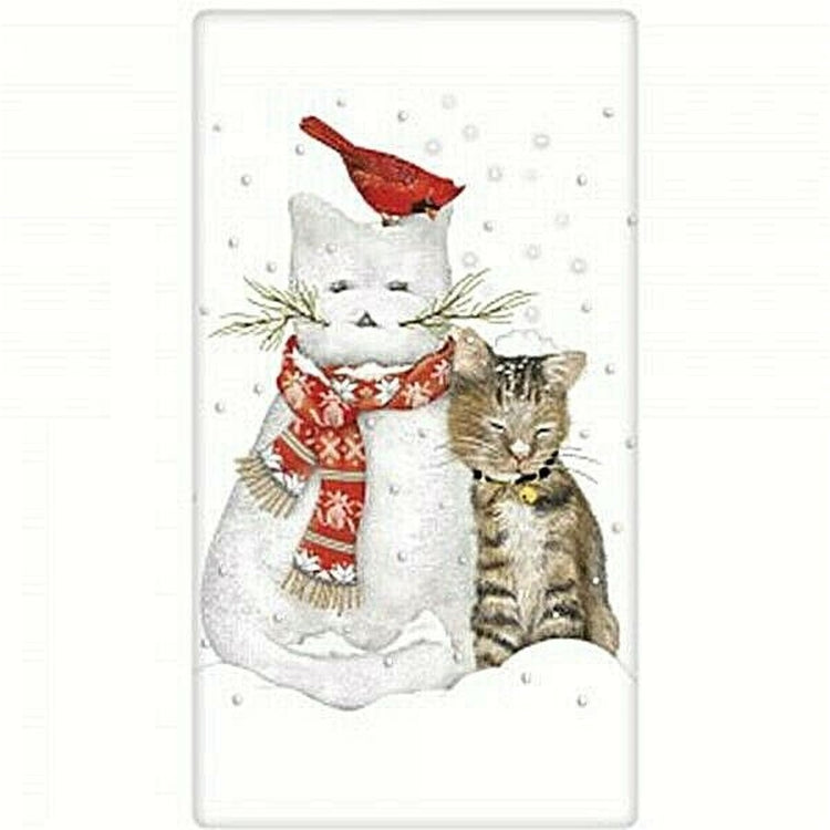 White flour sack kitchen towel with cat shaped showman, cat and red cardinal in snow.