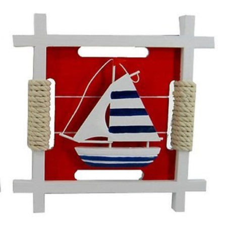 Nautical Framed Sailboat Plaque with Rope Accent