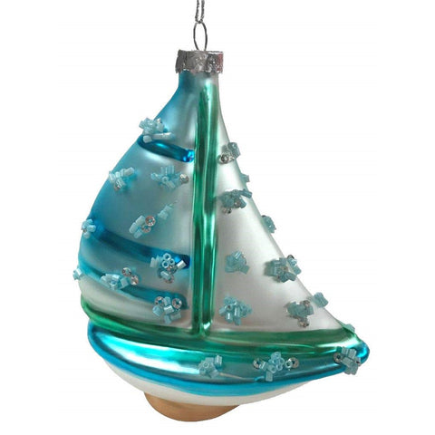 Blown Glass Embellished Sailboat Ornament