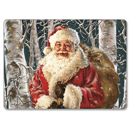 Dark green hardboard placemat showing Santa in his red suit carrying a brown sack through the woods.
