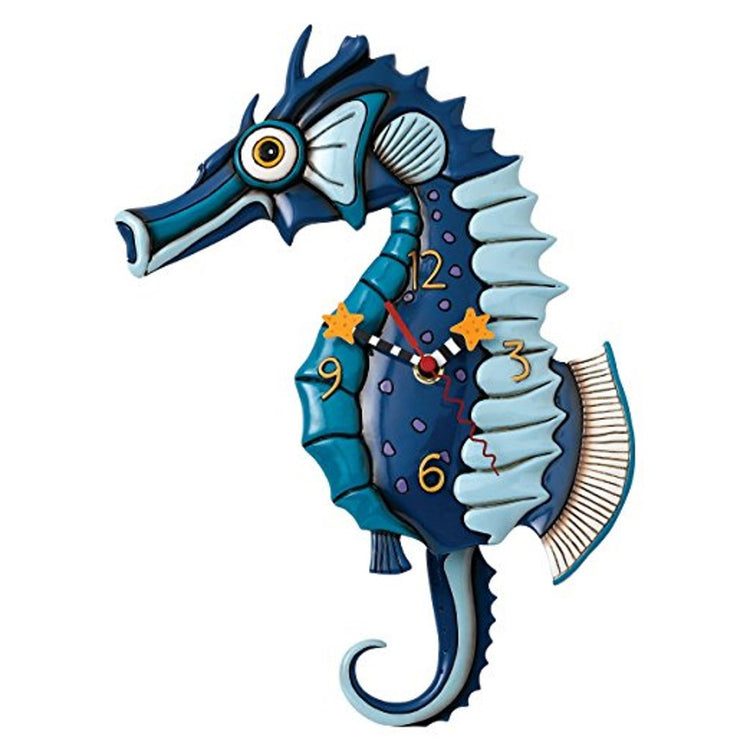Blue seahorse clock. Clock hands have stars on end