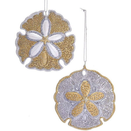 Sand Dollar Gold and Silver Tone 4 inch Resin Sand Dollar Christmas Ornaments