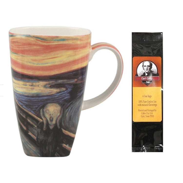 White coffee cup with Munch the Scream print and package of Earl Grey tea.