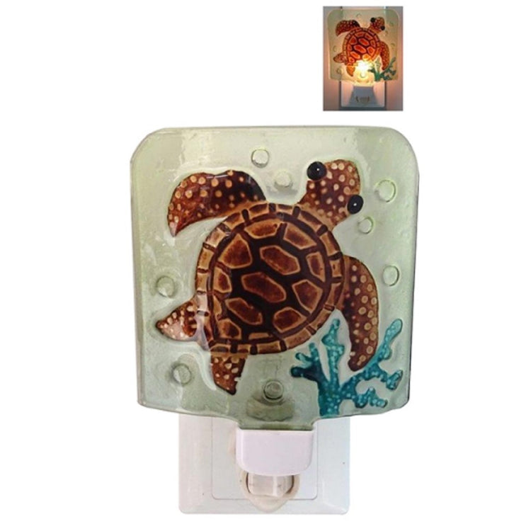 square shaped glass night light cover w/brown turtle & blue coral, on/off switch under cover. small image with light on.