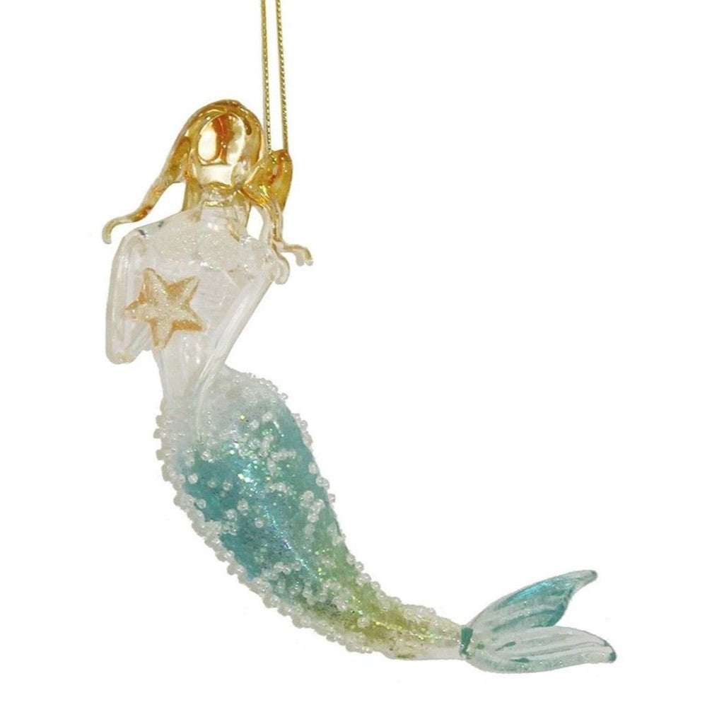 Seafoam Glitter Glass Mermaid Ornament