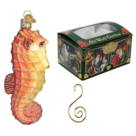 Old World Christmas Glass Blown Orange Seahorse Ornament with S-Hook and Gift Box