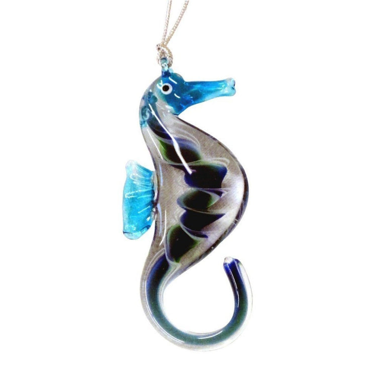 Upright glass seahorse with tail curled up. Blue head, tail & fin. Body is green & blue swirl.