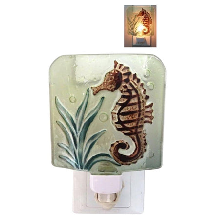 square shaped glass night light cover w/brown seahorse & green plant, on/off switch under cover. small image with light on.